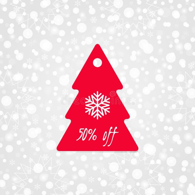 50 процентов с значка вектора бирки покупок с снежинкой Изолированный символ скидки рождественской елки Иллюстрация продажи зимы бесплатная иллюстрация