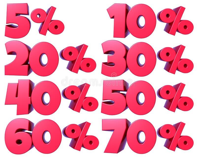 Процент нумерует в красном цвете для продаж скидки, для знамен и витрин, для сети и печати, при прозрачный приложенный файл PNG бесплатная иллюстрация