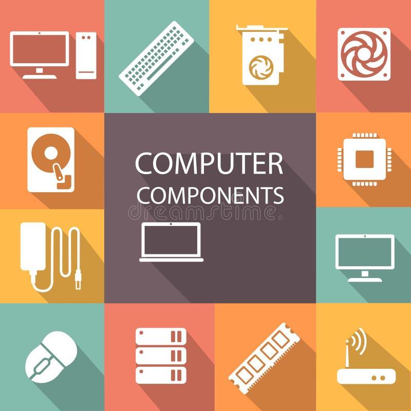 Процессор значка компонентов компьютера установленный, материнская плата, RAM, видеокарта, охладитель иллюстрация штока