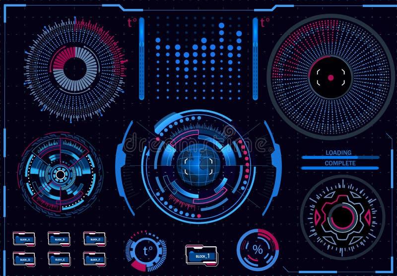 Процессы компьютерного управления Диагностическая стойка Виртуальный графический интерфейс, электронная линза, элементы HUD иллюс иллюстрация вектора