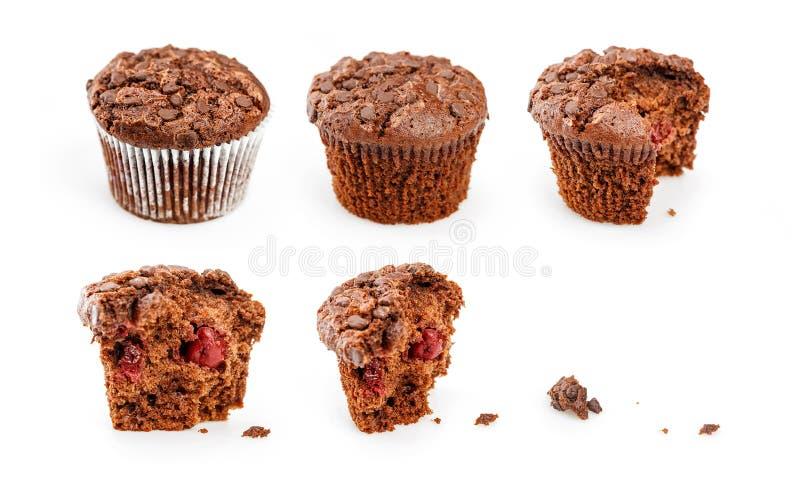 Процесс еды пирожных в 6 шагах на белую предпосылку стоковые фото