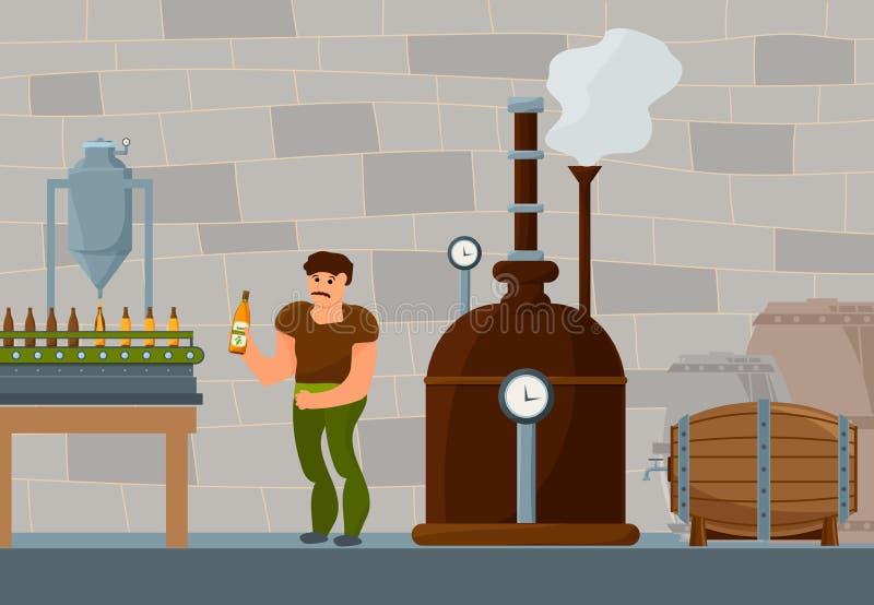 Процесс заваривать пива иллюстрация штока