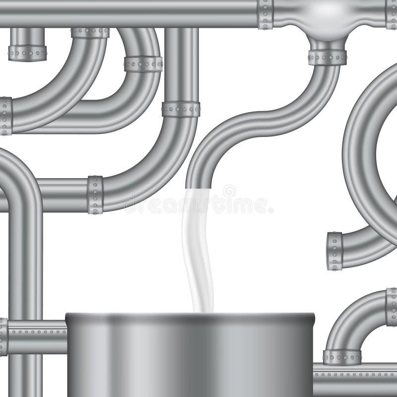 Процесс концепции заполнять бак для хранения молока иллюстрация вектора