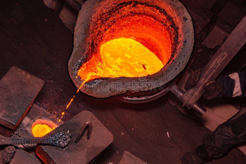 процесс литья металла с высокотемпературным огнем в фабрике части металла стоковое изображение
