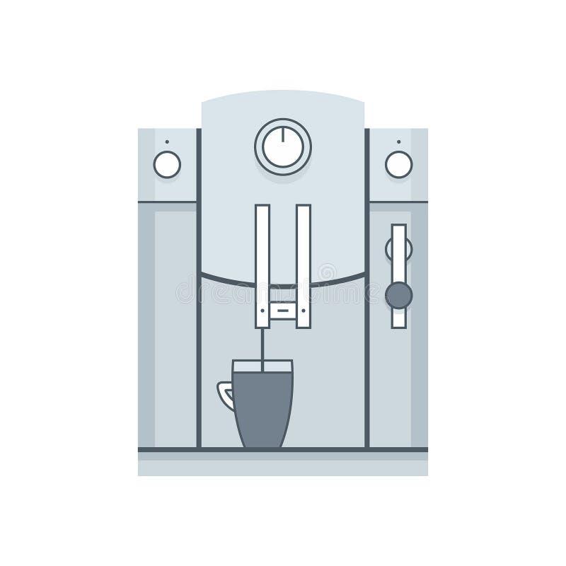 процесс подготовки фото машины выдержки espresso кофе длинний Плоский стиль иллюстрация штока