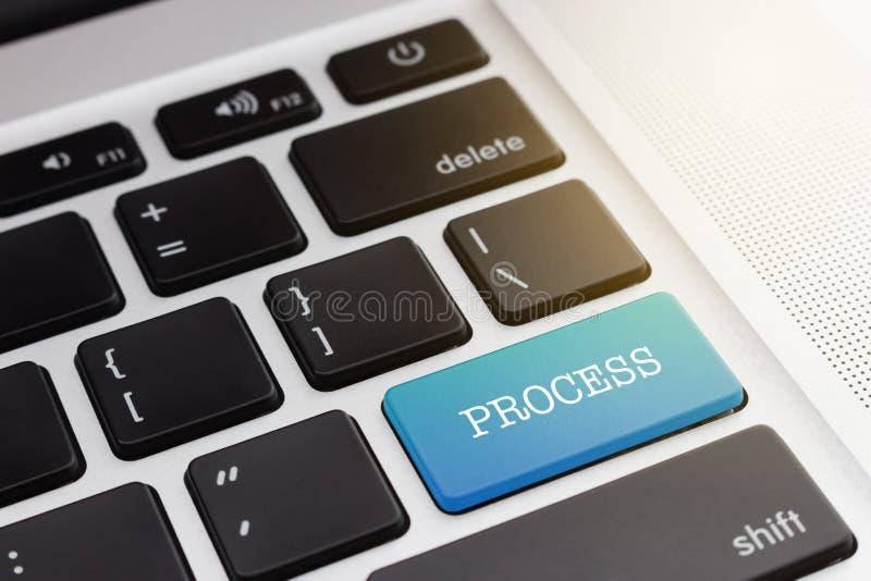 ПРОЦЕСС: Позеленейте компьютер клавиатуры кнопки стоковые фотографии rf