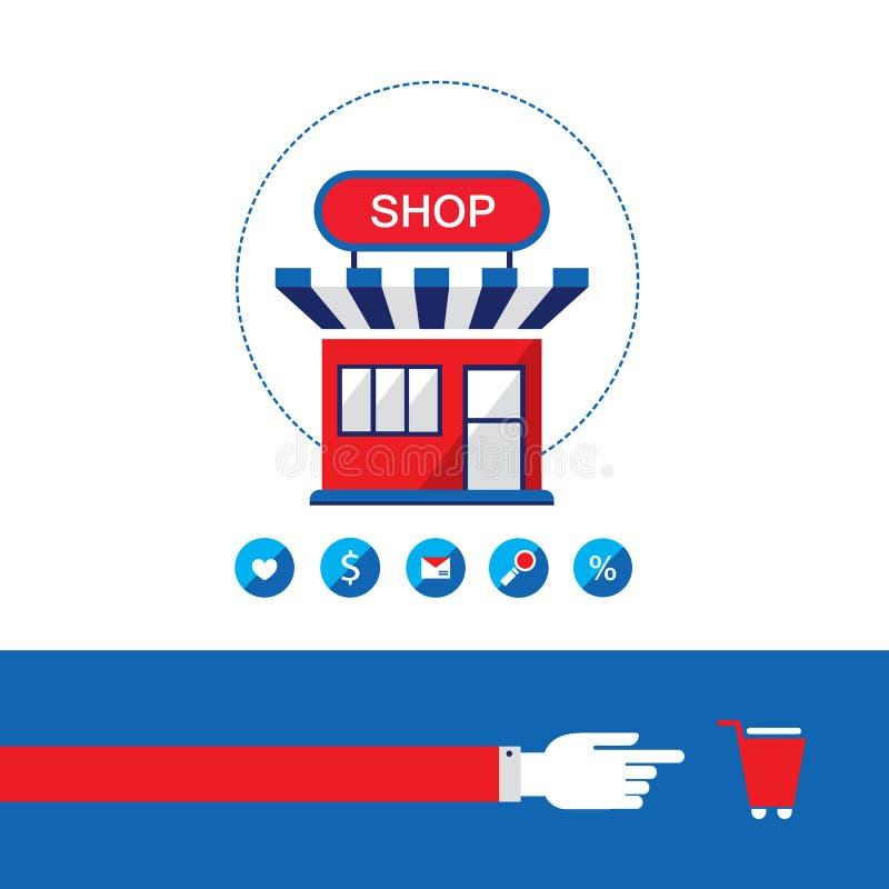 Процесс покупок Магазин, покупка и продает ваши продукты Он-лайн принципиальная схема дела иллюстрация вектора