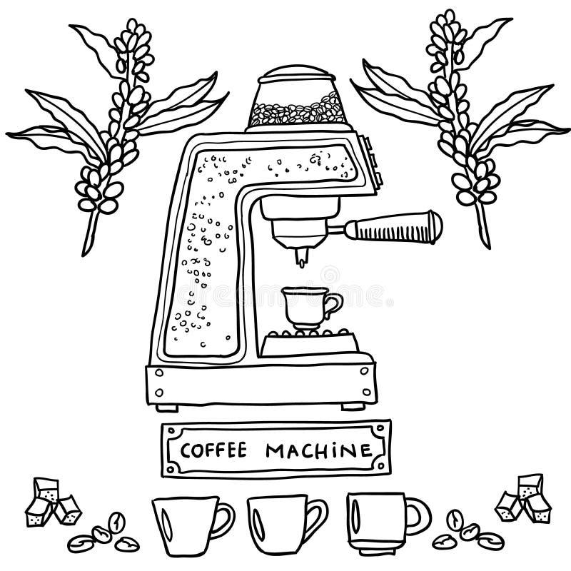 процесс подготовки фото машины выдержки espresso кофе длинний иллюстратор иллюстрации руки чертежа угля щетки нарисованный как вз иллюстрация вектора