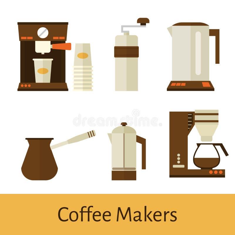 процесс подготовки фото машины выдержки espresso кофе длинний установите элементы в плоском стиле варить бесплатная иллюстрация
