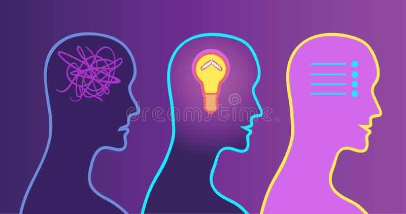 Процесс принятия решения, освещение в голове разрешенная проблема бесплатная иллюстрация
