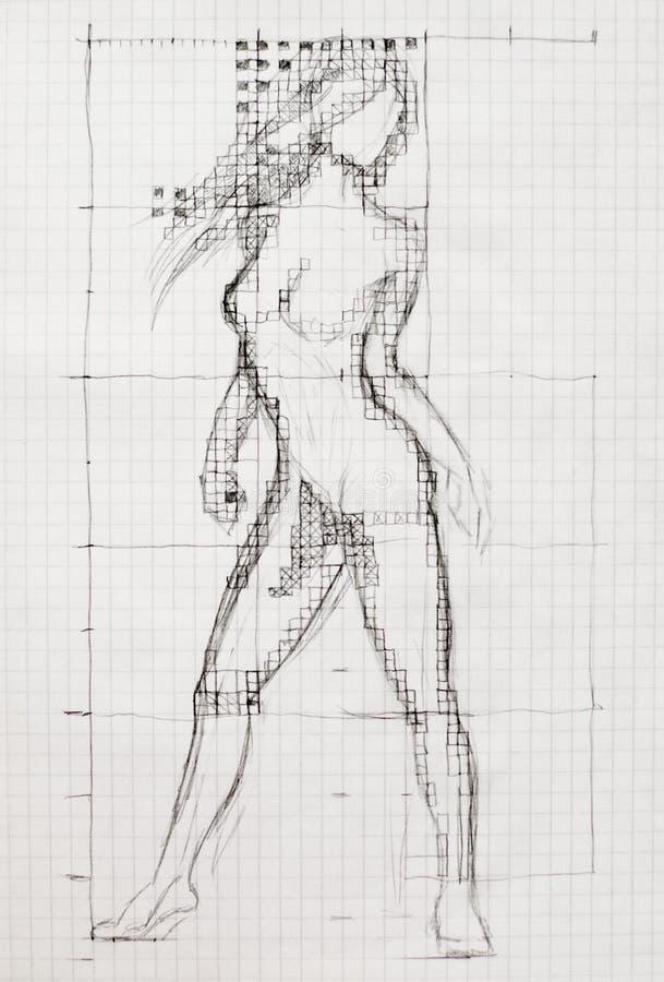 Процесс рисовать тело нагой женщины на листе тетради консультационный чертеж иллюстрация штока