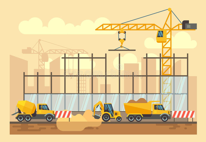 Процесс строительной конструкции, проектируя инструменты, материалы и оборудование vector плоская иллюстрация иллюстрация вектора