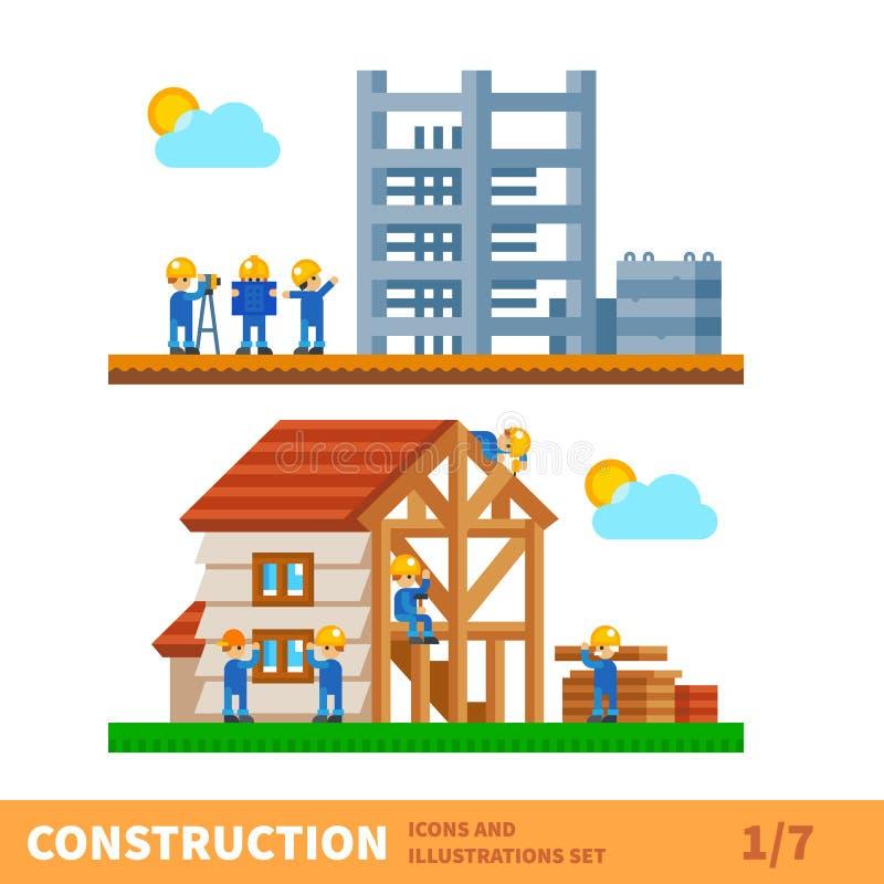 Процесс строить дом иллюстрация вектора