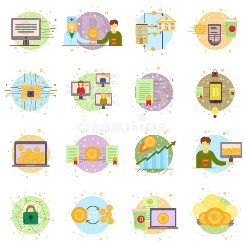 Процесс Cryptocurrency и комплект минирования Плоское собрание иллюстрации вектора в секретной теме Секретные ярлыки валюты иллюстрация вектора