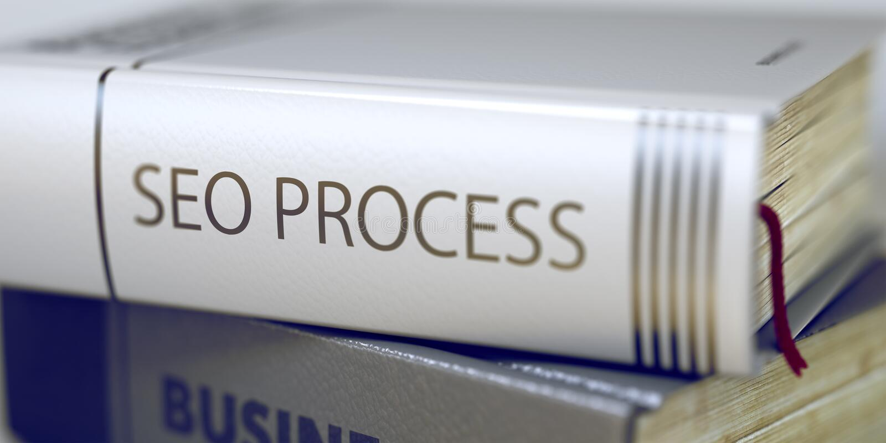 Процесс Seo - название торговой книги 3d стоковые фото