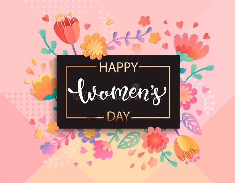Прочешите на счастливый день ` s женщин, вектор иллюстрация штока