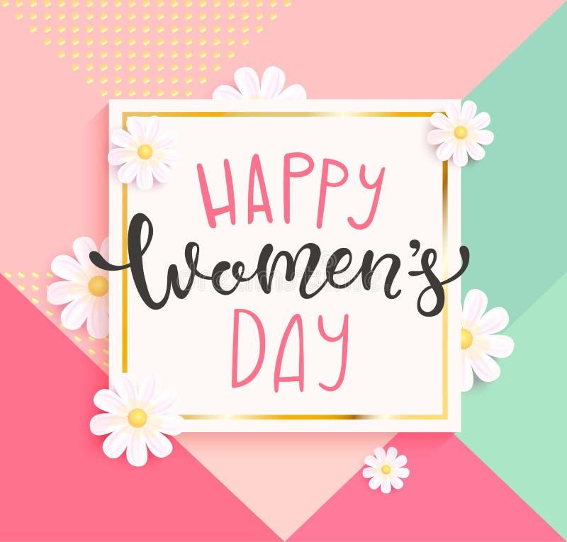 Прочешите на счастливый день ` s женщин с handdrawn литерностью бесплатная иллюстрация