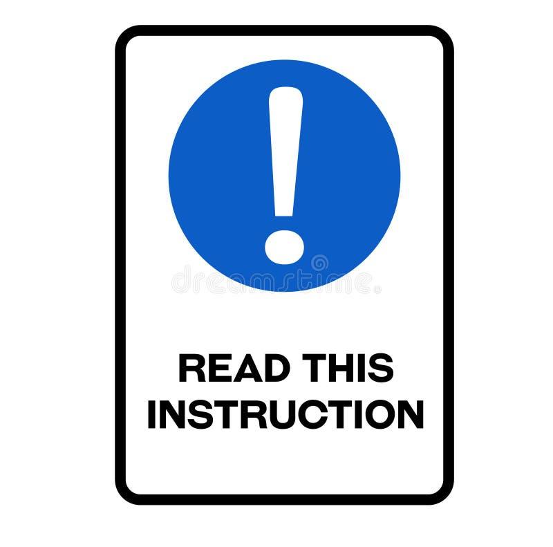 Прочитайте этот предупредительный знак инструкции иллюстрация вектора