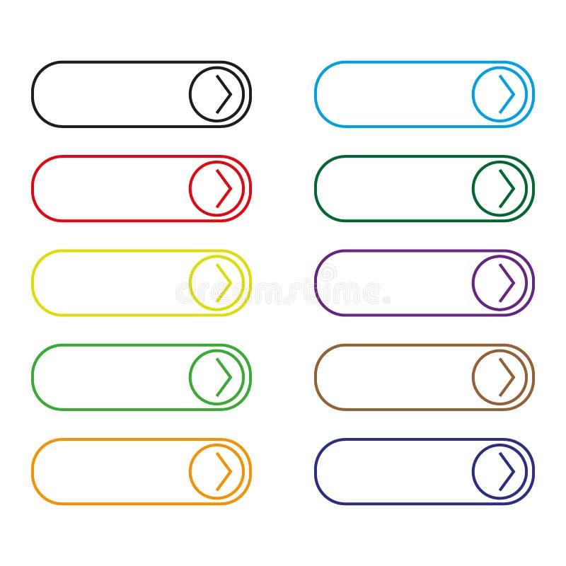 Прочитанный более красочный комплект кнопки иллюстрация вектора