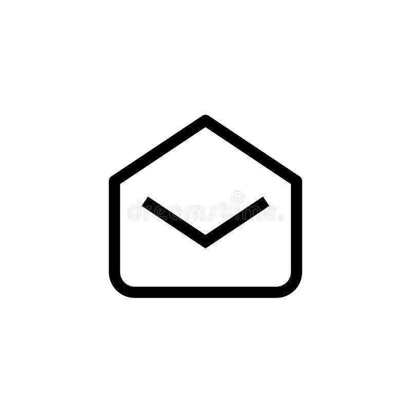 Прочитанный дизайн значка электронной почты раскрытый символ конверта почты простая чистая линия вектор концепции руководства биз иллюстрация вектора