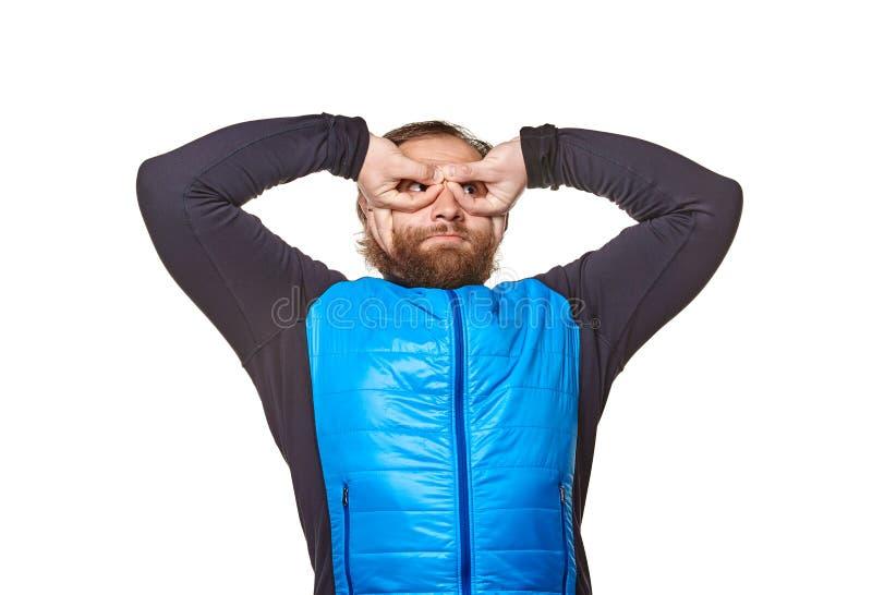 Прочный человек на белой предпосылке стоковое изображение rf