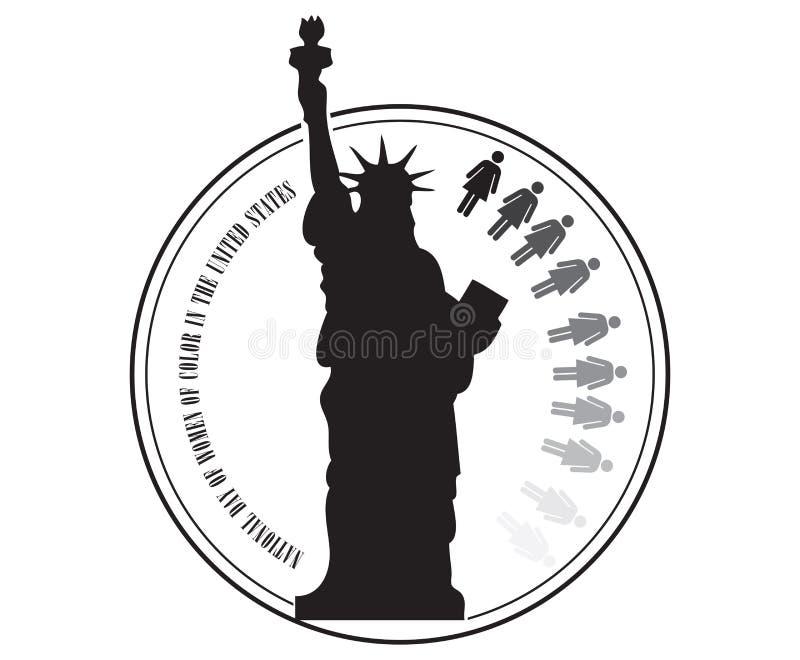 Проштемпелюйте день женщин цвета в США иллюстрация вектора