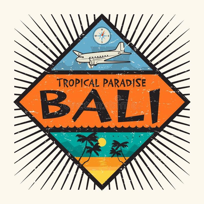 Проштемпелюйте или обозначьте с именем острова Бали бесплатная иллюстрация