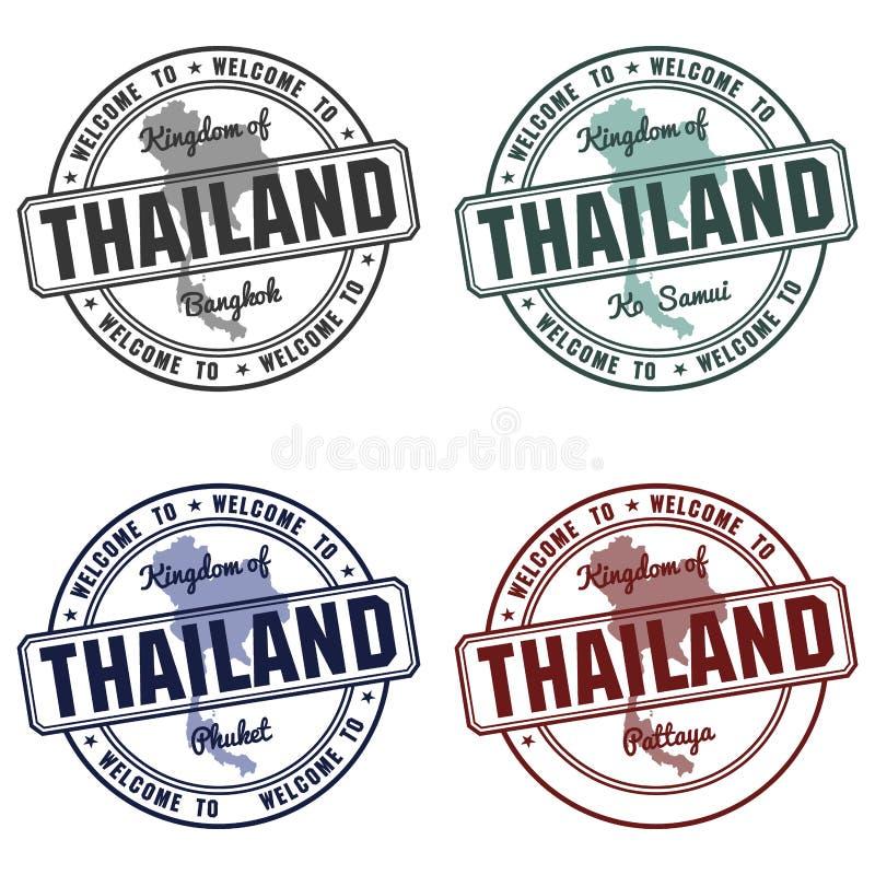 Проштемпелюйте при карта Таиланда сделанная в samui Бангкоке Пхукета иллюстрация штока