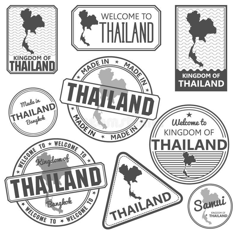 Проштемпелюйте при карта Таиланда сделанная в samui Бангкоке Пхукета бесплатная иллюстрация