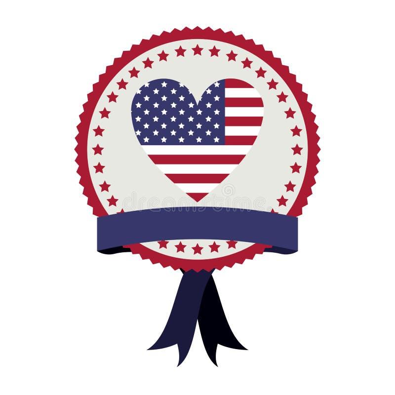 проштемпелюйте с флагом Соединенными Штатами с формой и лентой сердца бесплатная иллюстрация