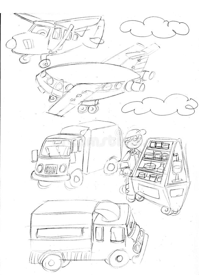Продавец пить, фургонов, самолетов, эскизов и карандаша делает эскиз к и doodles иллюстрация вектора