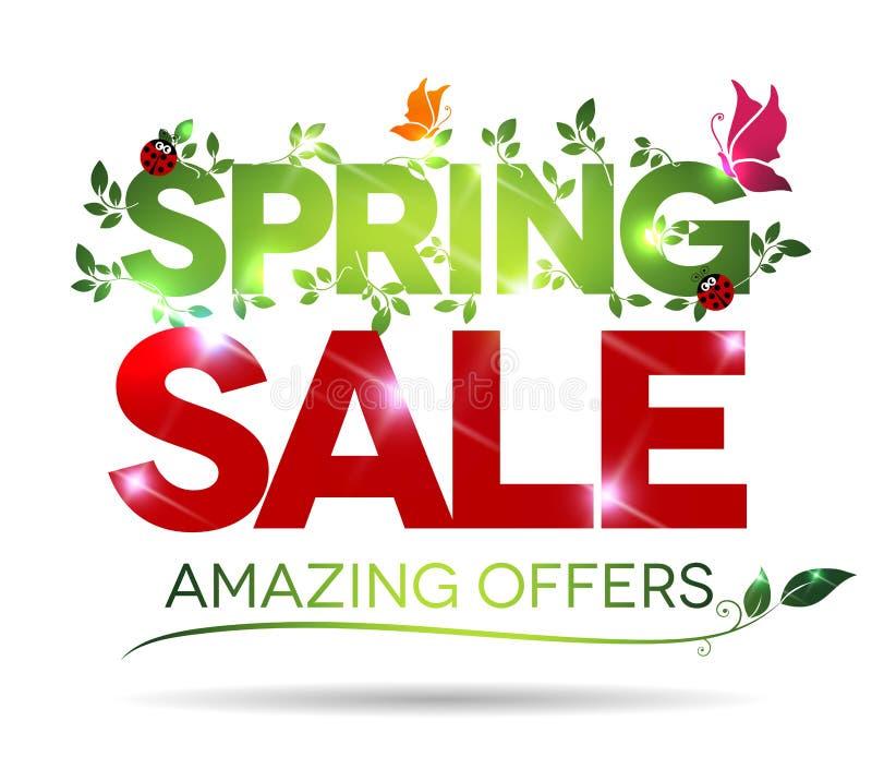 Продажа весны, изумляя сообщение предложений иллюстрация штока