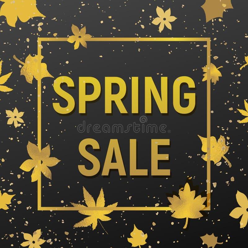 Продажа весны с золотой текстурой стоковое изображение rf