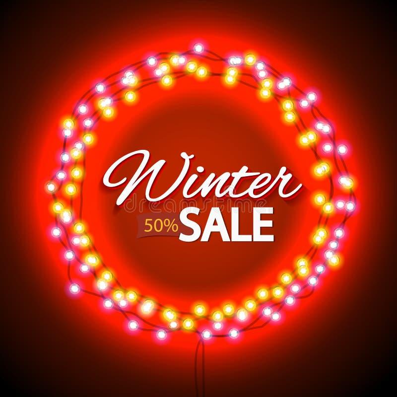 Продажа зимы освещает рамку иллюстрация штока