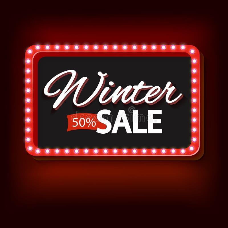 Продажа зимы с фиолетовой рамкой года сбора винограда светов иллюстрация штока