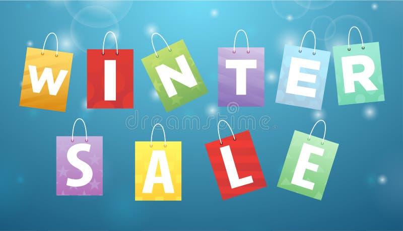 Продажа зимы титра на пакетах бесплатная иллюстрация