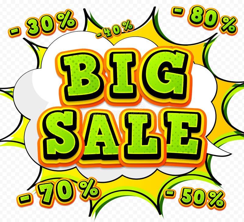 Продажа знамени большая, скидка Стиль искусства шипучки, комик иллюстрация штока