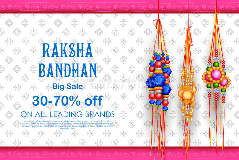 Продажа и плакат знамени продвижения с декоративным Rakhi для Raksha Bandhan, индийского фестиваля брата и выпуска облигаций сест иллюстрация вектора
