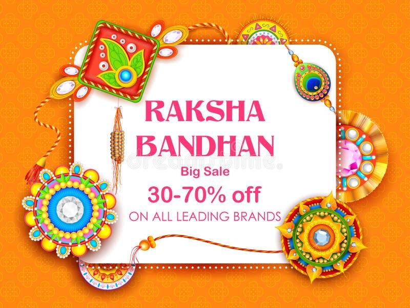 Продажа и плакат знамени продвижения с декоративным Rakhi для Raksha Bandhan, индийского фестиваля брата и выпуска облигаций сест иллюстрация штока