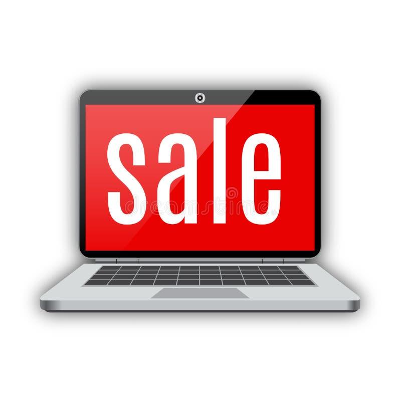 Продажа компьтер-книжки тетради иллюстрация вектора