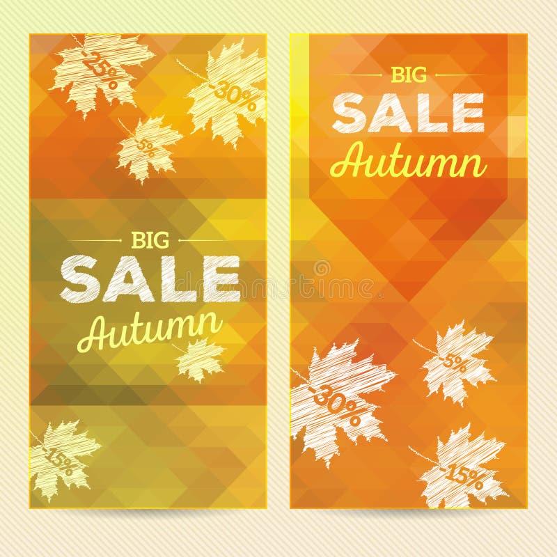 Продажа осени, 2 вертикальных знамени бесплатная иллюстрация