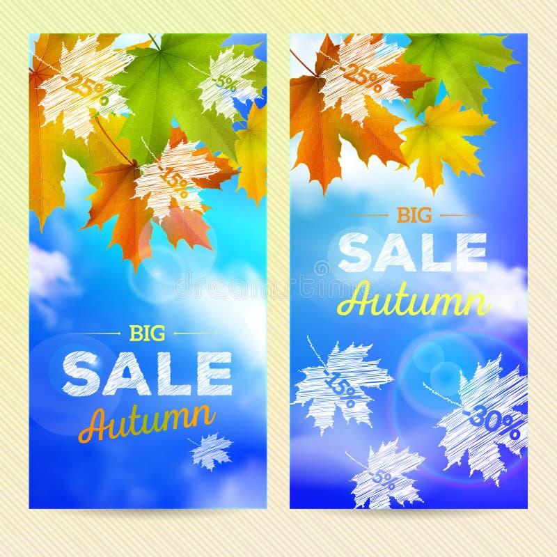 Продажа осени, 2 вертикальных знамени иллюстрация вектора