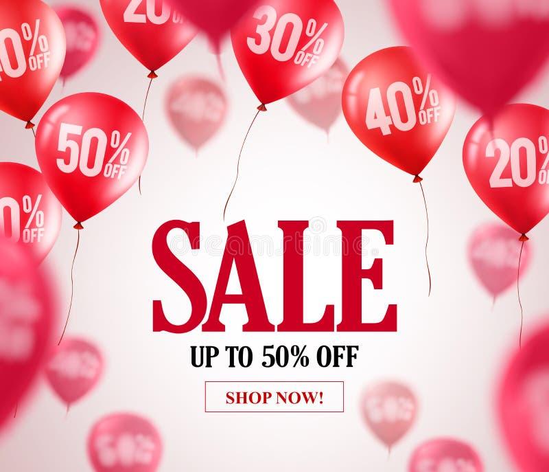 Продажа раздувает предпосылка вектора Красные воздушные шары летая с 50 процентами  иллюстрация вектора