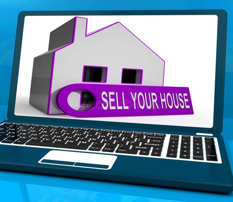 Продайте ваше свойство середин компьтер-книжки дома дома доступное к покупателям иллюстрация вектора