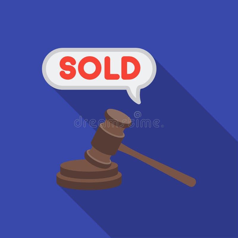 Продайте значок с аукциона молотка в плоском стиле изолированный на белой предпосылке Иллюстрация вектора запаса символа электрон иллюстрация штока