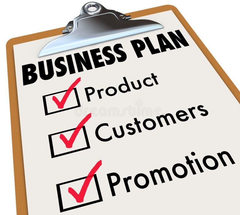 Продвижение Ch клиентов продукта доски сзажимом для бумаги контрольного списока бизнес-плана иллюстрация вектора