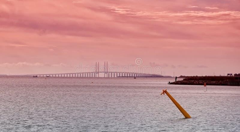 Пролив и мост Oresund на заходе солнца стоковые изображения rf