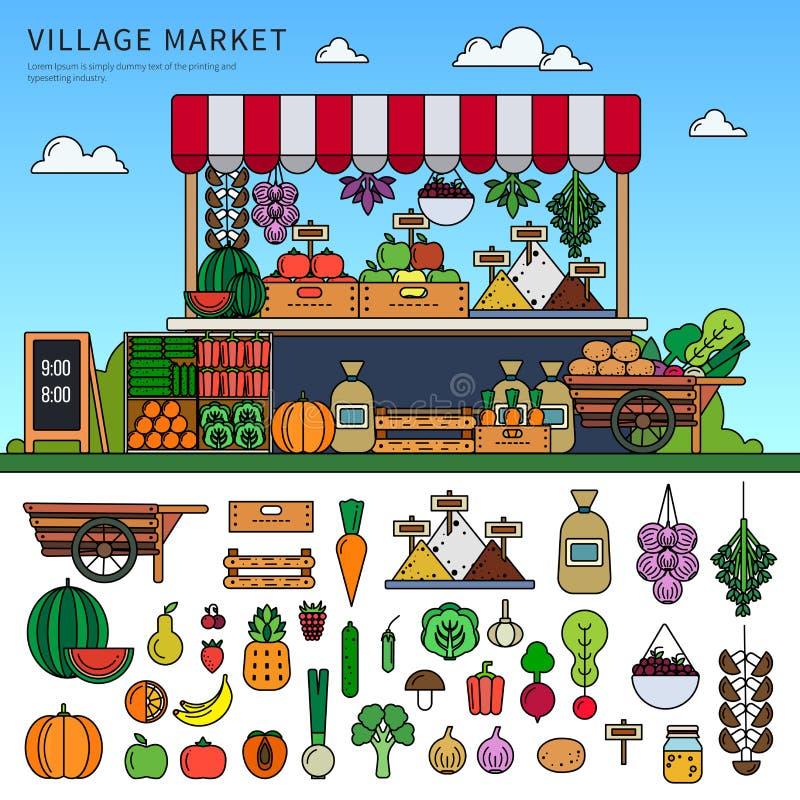 Продовольственный рынок в деревне иллюстрация вектора