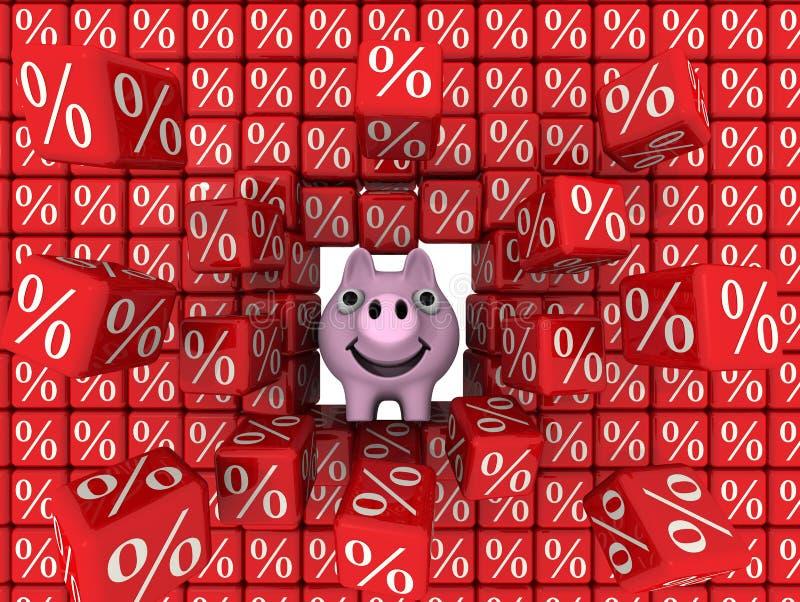 Пролом копилки свиньи стена кубов с символом процентов иллюстрация вектора