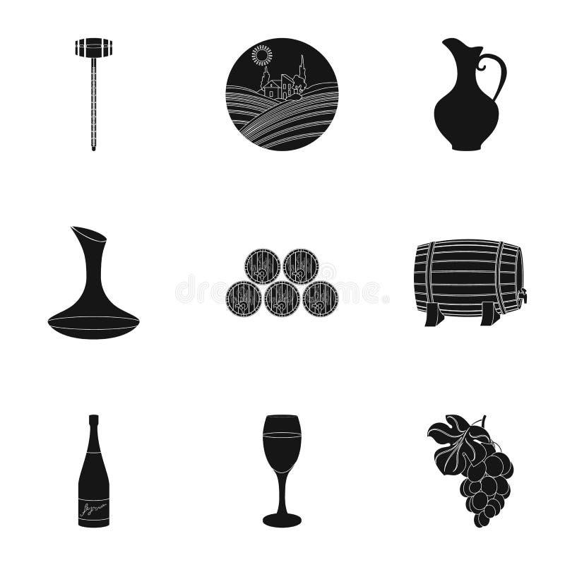 Продукты вина Растущие виноградины, вино Значок продукции лозы в собрании комплекта на черном запасе символа вектора стиля иллюстрация штока